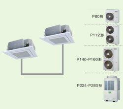 画像1: 大阪・業務用エアコン 東芝 4方向吹出し 同時ツイン ワイヤレス リモコン AUEB11265X P112(4馬力) スマートエコR 三相200V