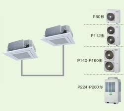画像1: 大阪・業務用エアコン 東芝 4方向吹出し 同時ツイン ワイヤレス リモコン AUEB28065X P280(10馬力) スマートエコR 三相200V